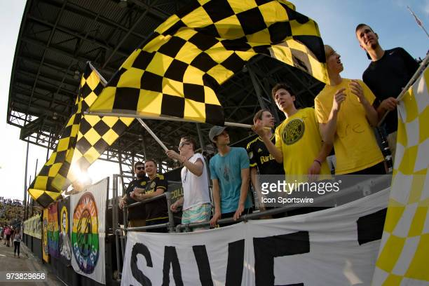 Fans cheer before the MLS regular season game between the Columbus Crew SC and the Atlanta United FC on June 13 2018 at Mapfre Stadium in Columbus OH