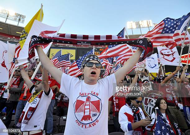 Fans cheer before the start of a World Cup preparation match between the US and Azerbaijan at Candlestick Park in San Francisco on May 27 2014 AFP...