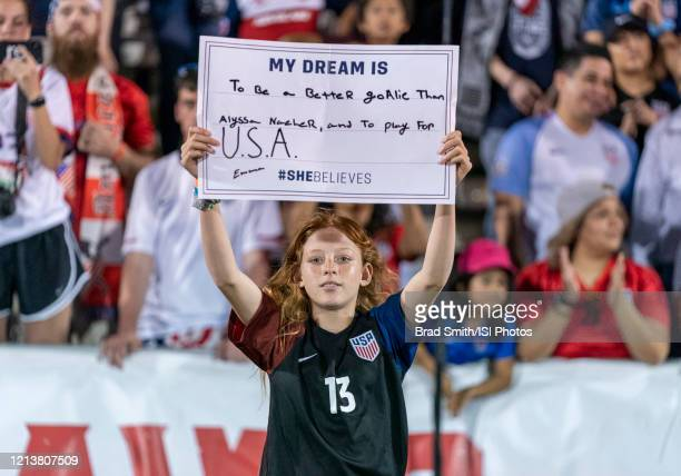 Fans cheer during a game between Japan and USWNT at Toyota Stadium on March 11, 2020 in Frisco, Texas.