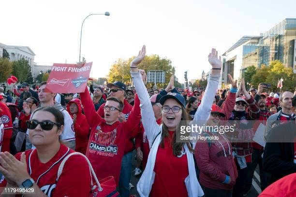 Fans cheer during a rally following the Washington Nationals parade that celebrated their World Series victory over the Houston Astros on November 2...