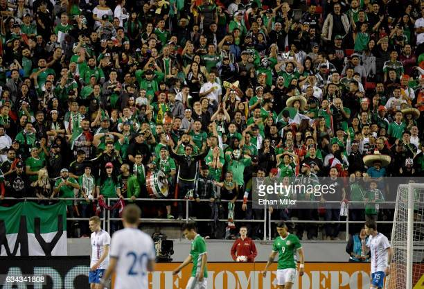 Fans cheer during an exhibition match between Iceland and Mexico at Sam Boyd Stadium on February 8 2017 in Las Vegas Nevada Mexico won 10