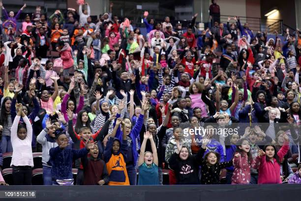 Fans cheer during an NBA GLeague game between the Santa Cruz Warriors and the Memphis Hustle on January 30 2019 at Landers Center in Southaven...