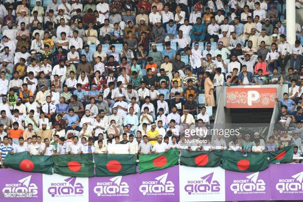 Fans cheer during day three of the First Test match between Bangladesh and Australia at Shere Bangla National Stadium on August 29 2017 in Mirpur...