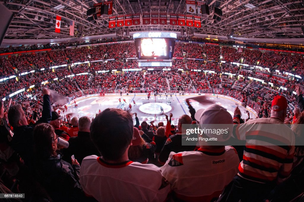 Fans cheer during pre game ceremonies prior to the Ottawa Senators facing the Boston Bruins in Game One of the Eastern Conference First Round during the 2017 NHL Stanley Cup Playoffs at Canadian Tire Centre on April 12, 2017 in Ottawa, Ontario, Canada.