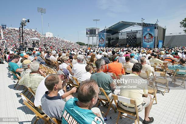 Fans cheer during the 2005 NFL Hall of Fame induction ceremony on August 7 2005 in Canton Ohio