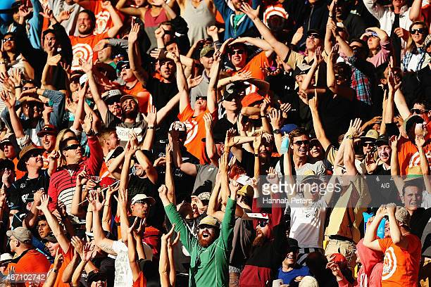 Fans cheer during the 2015 ICC Cricket World Cup match between New Zealand and the West Indies at Wellington Regional Stadium on March 21 2015 in...