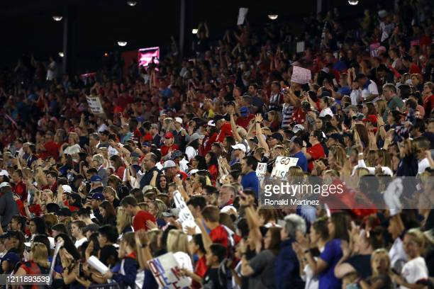 Fans cheer during the 2020 SheBelieves Cup match between the United States and Japan at Toyota Stadium on March 11, 2020 in Frisco, Texas.
