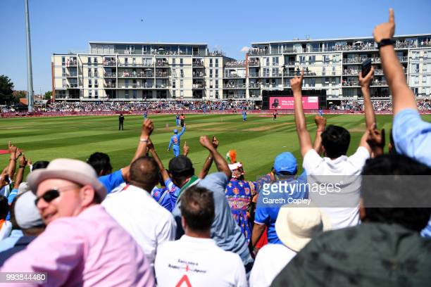 Fans cheer during the 3rd Vitality International T20 match between England and India at The Brightside Ground on July 8 2018 in Bristol England