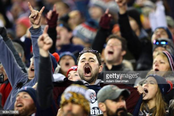 Fans cheer during the AFC Championship Game between the New England Patriots and the Jacksonville Jaguars at Gillette Stadium on January 21 2018 in...