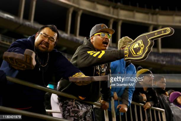 Fans cheer during the Alliance of American Football game between the Atlanta Legends and San Diego Fleet at SDCCU Stadium on February 17 2019 in San...