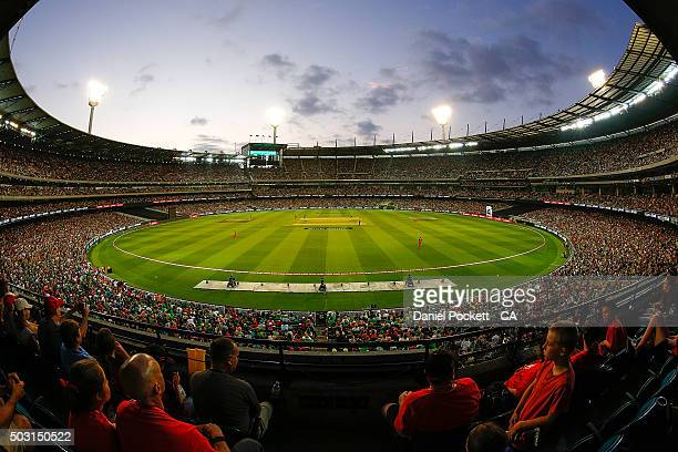 Fans cheer during the Big Bash League match between the Melbourne Stars and the Melbourne Renegades at Melbourne Cricket Ground on January 2 2016 in...