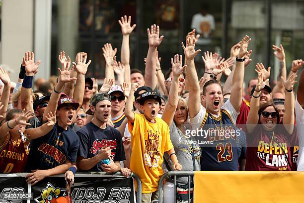Fans cheer during the Cleveland Cavaliers 2016 NBA Championship victory parade and rally on June 22 2016 in Cleveland Ohio