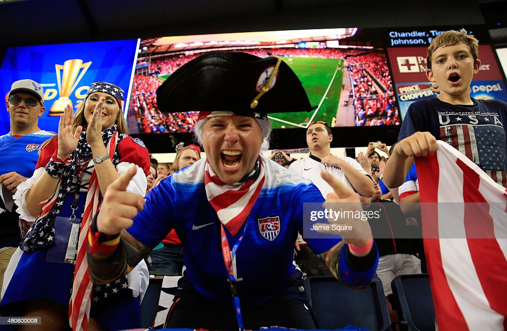 USA fans cheer during the CONCACAF Gold Cup match between Panama and the United States at Sporting Park on July 13, 2015 in Kansas City, Kansas.