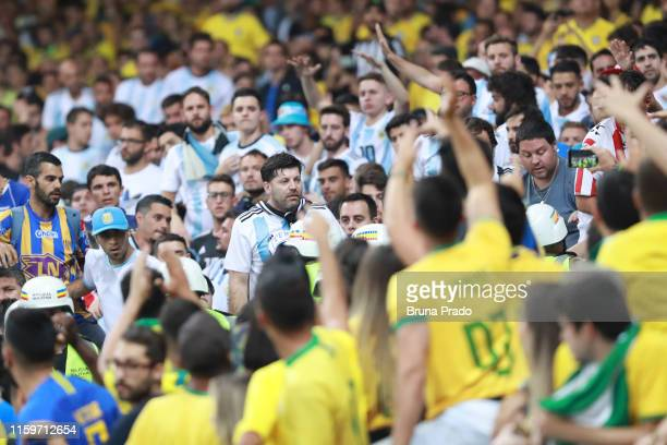Fans cheer during the Copa America Brazil 2019 Semi Final match between Brazil and Argentina at Mineirao Stadium on July 02 2019 in Belo Horizonte...