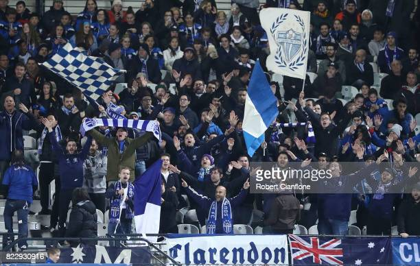 Fans cheer during the FFA Cup round of 32 match between South Melbourne and Edgeworth FC at Lakeside Stadium on July 26 2017 in Melbourne Australia
