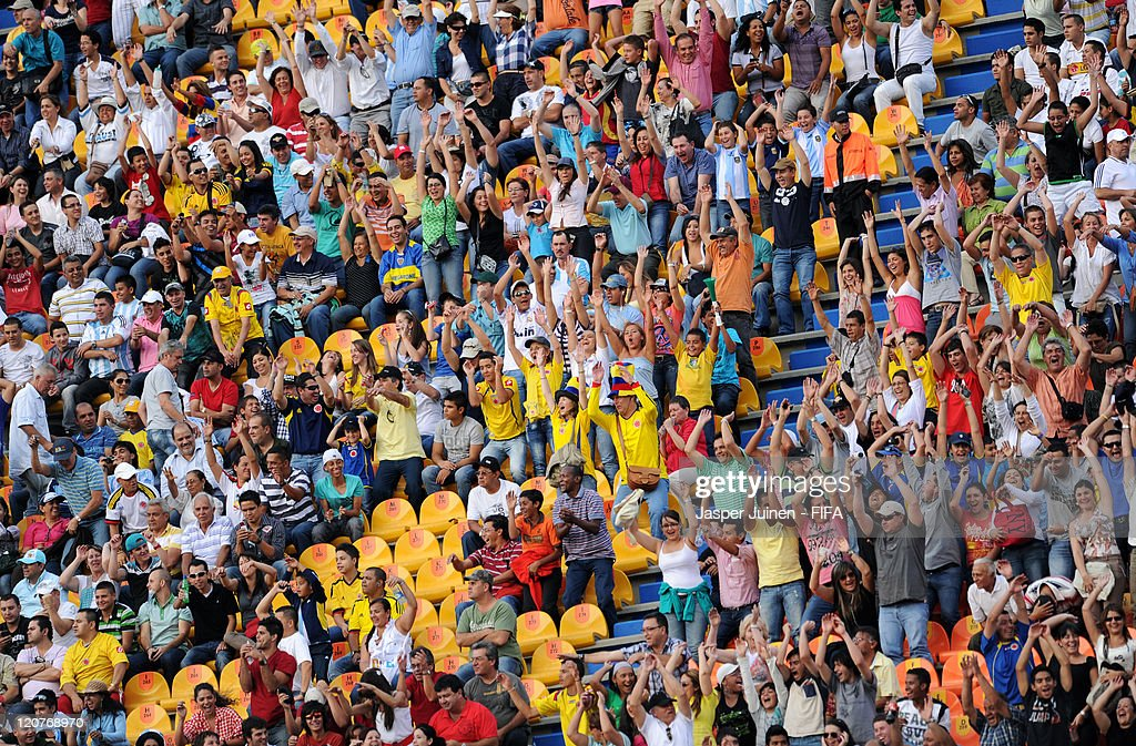 Fans cheer during the FIFA U-20 World Cup Colombia 2011 round of 16 match between Argentina and Egypt at the Atanasio Girardot stadium on August 9, 2011 in Medellin, Colombia.