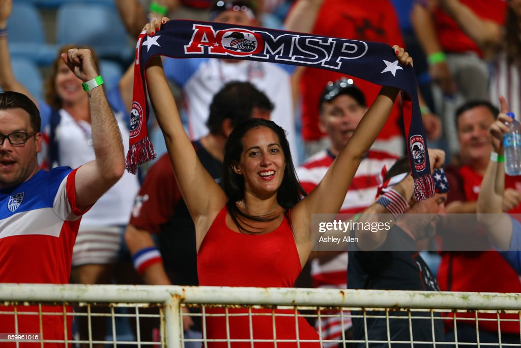 USA Fans cheer during the FIFA World Cup Qualifier match between Trinidad and Tobago at the Ato Boldon Stadium on October 10, 2017 in Couva, Trinidad And Tobago.