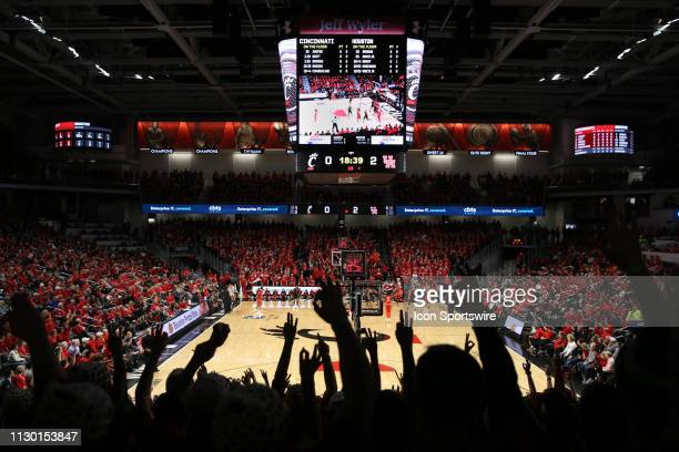 Fans cheer during the first basket of the game against the Houston Cougars and the Cincinnati Bearcats on March 10th 2019 at Fifth Third Arena in...