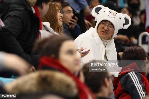 Fans cheer during the game between Germany and Canada during the Men's Playoffs Semifinals on day fourteen of the PyeongChang 2018 Winter Olympic...