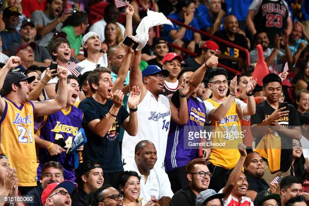 Fans cheer during the game between the Dallas Mavericks and the Boston Celtics during the Quarterfinals of the 2017 Las Vegas Summer League on July...