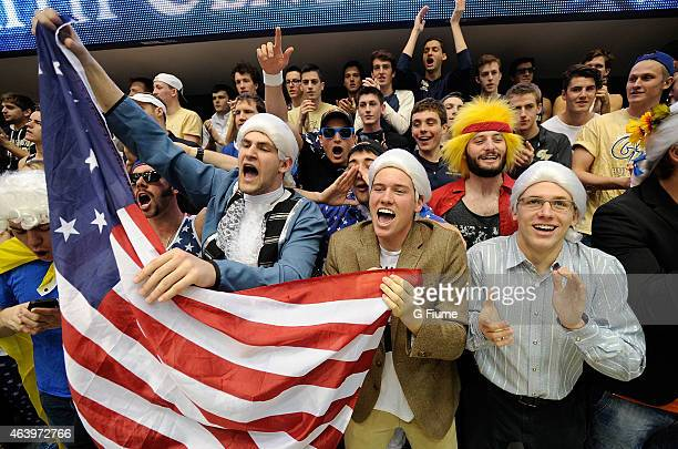 Fans cheer during the game between the George Washington Colonials and the Virginia Commonwealth Rams at the Charles E Smith Athletic Center on...