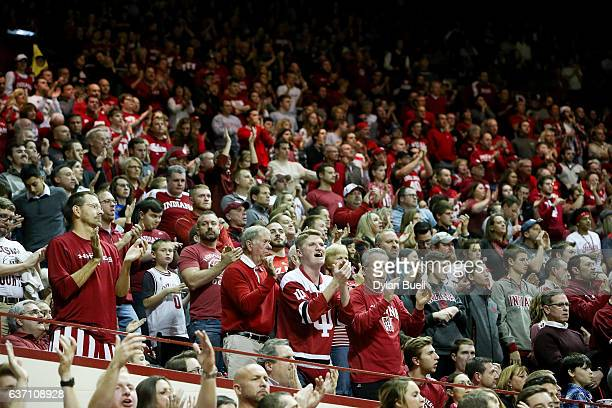 Fans cheer during the game between the Indiana Hoosiers and the Nebraska Cornhuskers at Assembly Hall on December 28 2016 in Bloomington Indiana