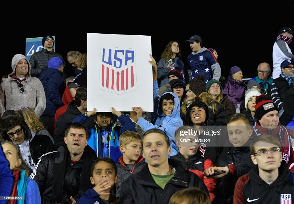 Fans cheer during the game between the United States and Paraguay at WakeMed Soccer Park on March 27, 2018 in Cary, North Carolina. The United States won 1-0.