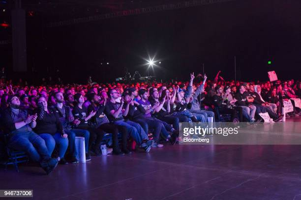 Fans cheer during the grand final game between teams Tox and Splyce at the Halo World Championship finals in Seattle Washington US on Sunday April 15...