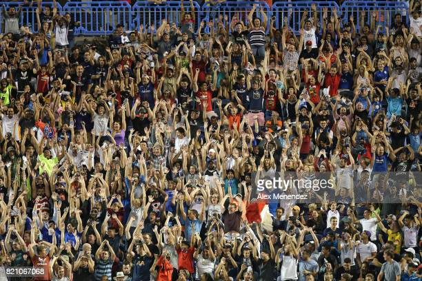 Fans cheer during the International Champions Cup 2017 match between Paris SaintGermain and Tottenham Hotspur at Camping World Stadium on July 22...