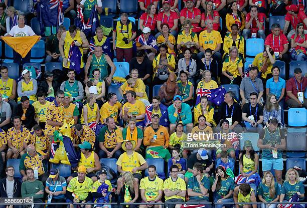 Fans cheer during the Men's Basketball - Preliminary Round Group A China vs Australia on Day 7 of the Rio 2016 Olympic Games at Carioca Arena 1 on...