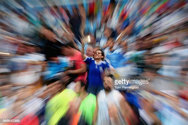 Fans cheer during the Men's Basketball Preliminary Round Group B Lithuania vs Argentina on Day 6 of the Rio 2016 Olympic Games at Carioca Arena 1 on...