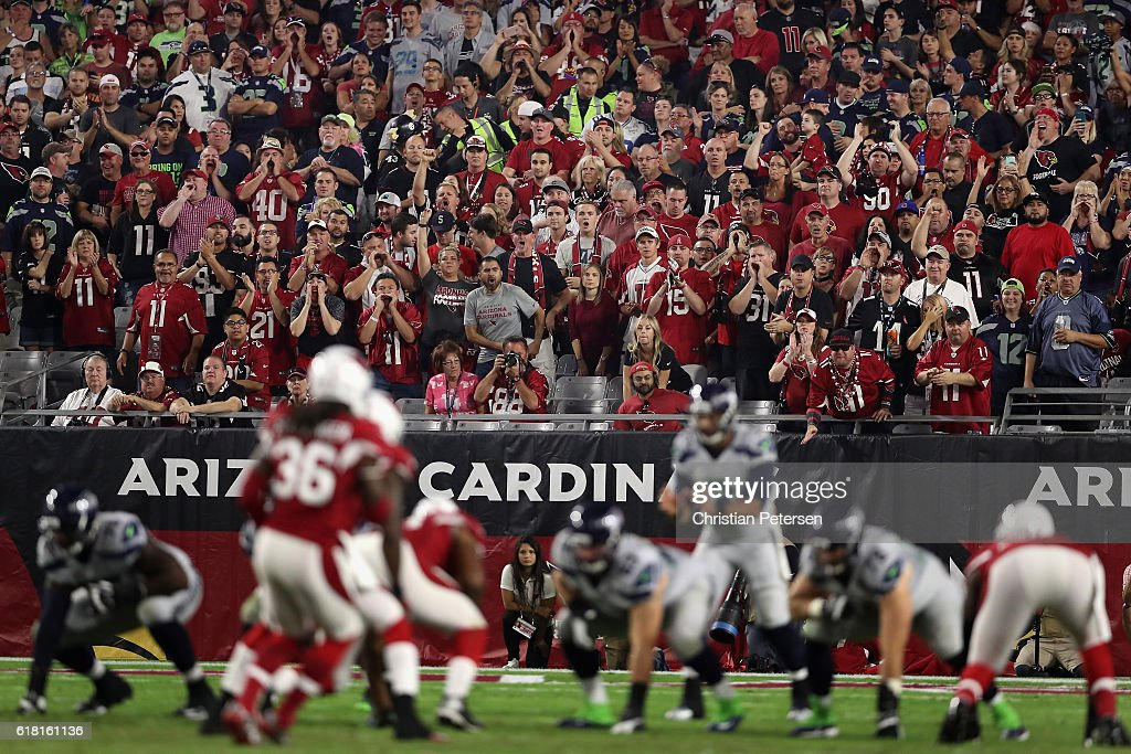 Fans cheer during the NFL game between the Arizona Cardinals and the Seattle Seahawks at the University of Phoenix Stadium on October 23, 2016 in Glendale, Arizona.