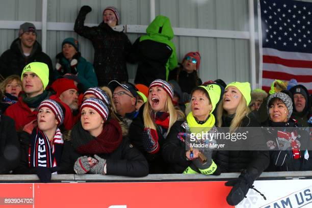 Fans cheer during the run in the Women's competition of the Viessmann FIL Luge World Cup at Lake Placid Olympic Center on December 16 2017 in Lake...