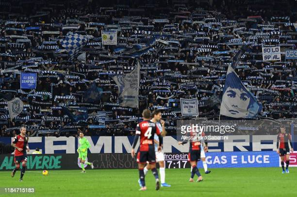 SPAL fans cheer during the Serie A match between SPAL and Genoa CFC at Stadio Paolo Mazza on November 25 2019 in Ferrara Italy