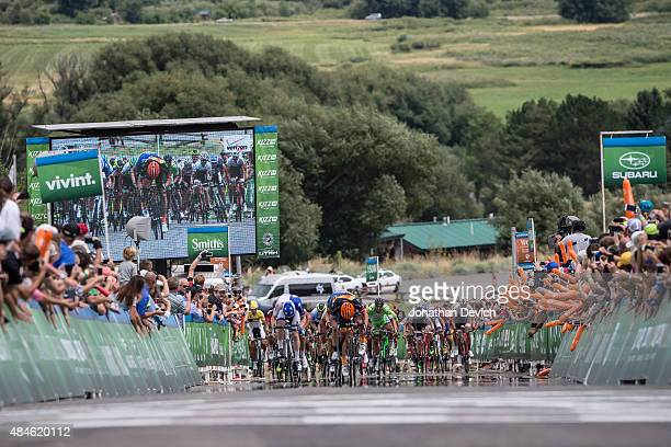 Fans cheer during the sprint finish of stage 4 of the Tour of Utah on August 6 2015 in Soldier Hollow Utah
