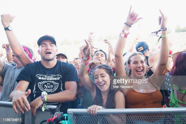 Fans cheer during the Watershed country music festival at Gorge Amphitheatre on August 2, 2019 in George, Washington.