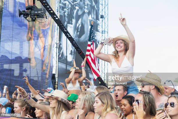 Fans cheer during the Watershed Country Music Festival at the Gorge Amphitheatre on August 2, 2019 in George, Washington.