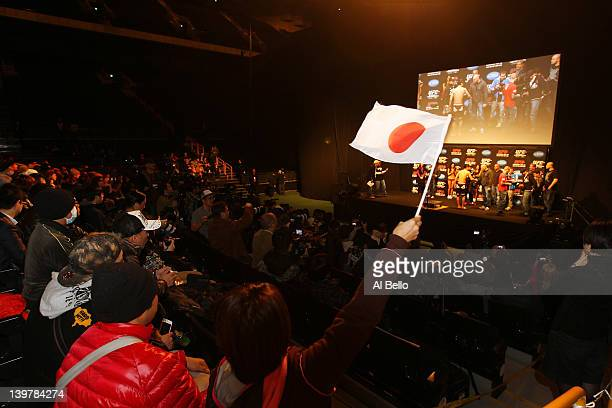 Fans cheer during the weigh-in for UFC 144 at the Saitama Super Arena on February 25, 2012 in Saitama, Japan.