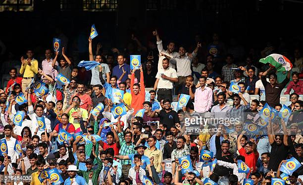 Fans cheer during the Women's ICC World Twenty20 India 2016 match between India and Pakistan at Feroz Shah Kotla Ground on March 19 2016 in Delhi...