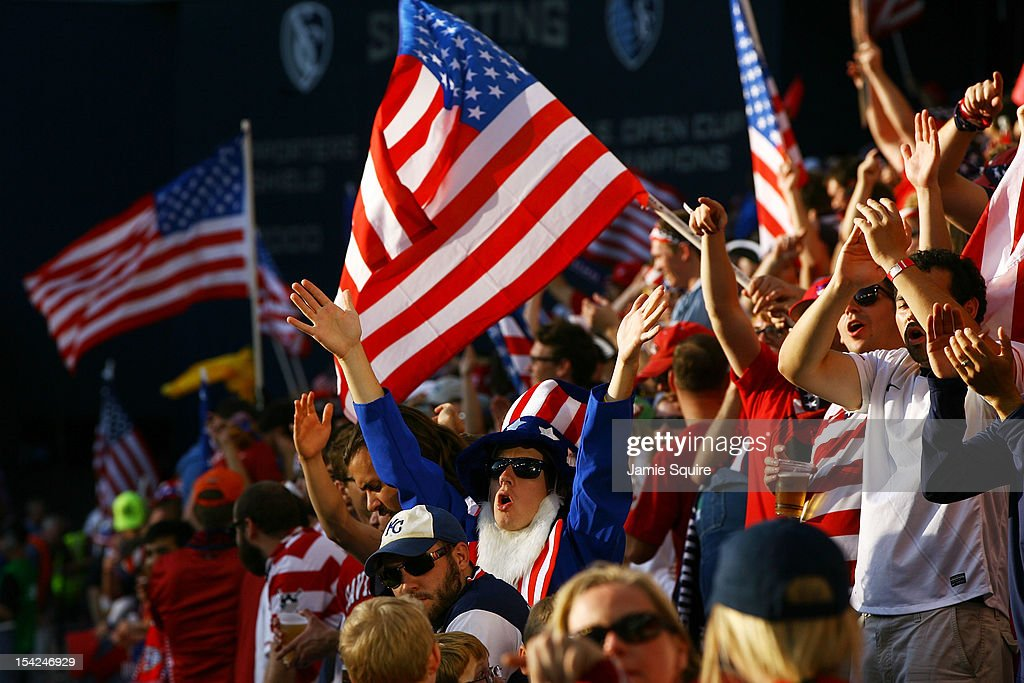 USA fans cheer during the World Cup Qualifying match against Guatamala at LiveStrong Sporting Park on October 16, 2012 in Kansas City, Kansas.