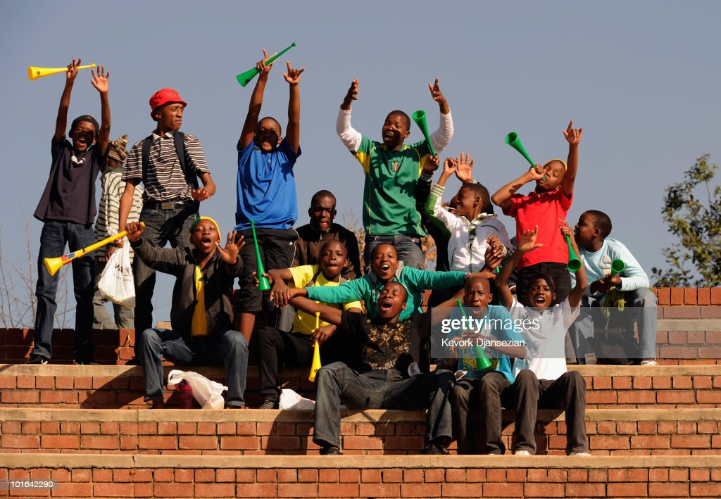 fans cheer durring the 2010 FIFA World Cup Pre-Tournament match between the Australian Socceroos and the United States of America at Ruimsig Stadium on June 5, 2010 in Roodepoort, South Africa.