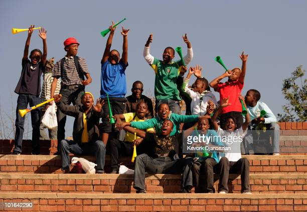 fans cheer durring the 2010 FIFA World Cup PreTournament match between the Australian Socceroos and the United States of America at Ruimsig Stadium...