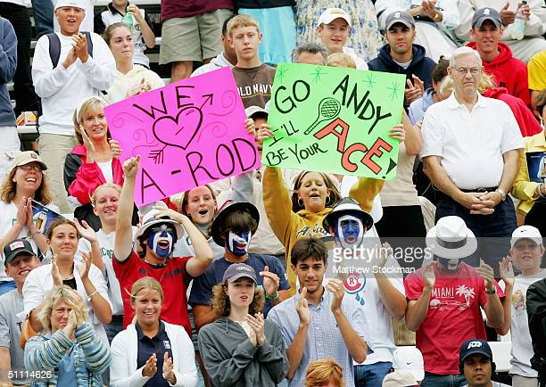 Fans cheer for Andy Roddick as he plays Nicolas Kiefer of Germany during the finals of the RCA Championships July 25 2004 at the Indianapolis Tennis...