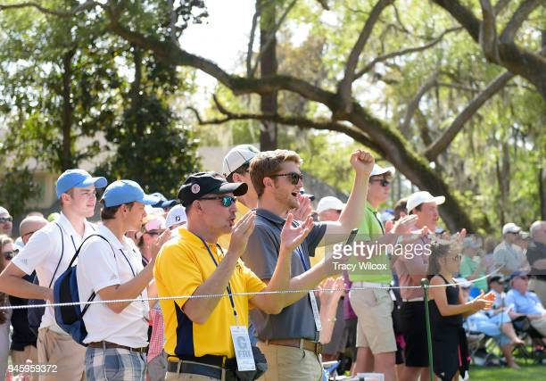 Fans cheer for Matt Kuchar during the second round of the RBC Heritage at Harbour Town Golf Links on April 13 2018 in Hilton Head South Carolina