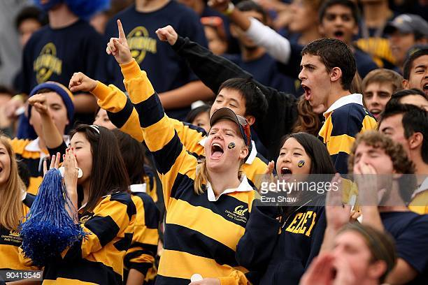 Fans cheer for the California Golden Bears before their game against the Maryland Terrapins at California Memorial Stadium on September 5, 2009 in...