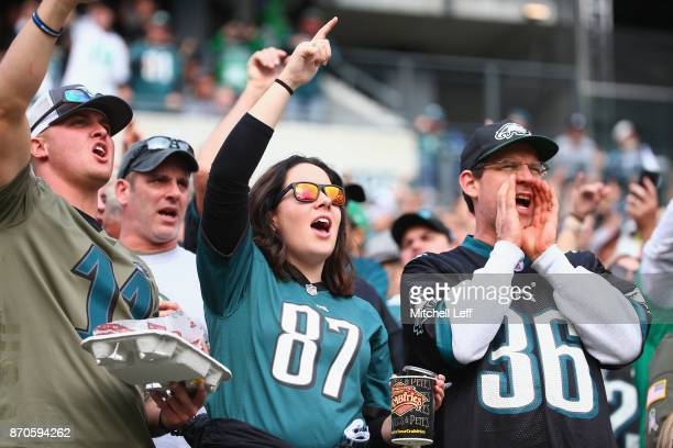 Fans cheer for the Philadelphia Eagles after scoring in the second quarter against the Denver Broncos at Lincoln Financial Field on November 5 2017...