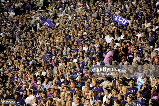 Fans cheer for the TCU Horned Frogs during play against the BYU Cougars at Amon G. Carter Stadium on October 16, 2008 in Fort Worth, Texas.