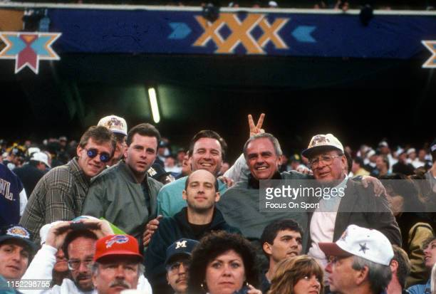 Fans cheer for their teams during Super Bowl XXX between the Dallas Cowboys and Pittsburgh Steelers on January 28, 1996 at Sun Devil Stadium in...