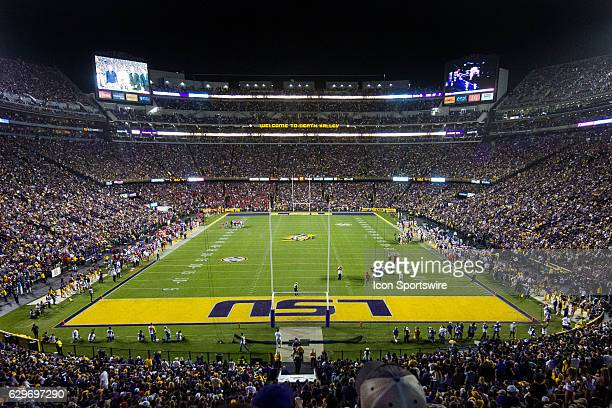 Fans cheer from the stands during the LSU Tigers game versus the Ole Miss Rebels on October 22 at Tiger Stadium in Baton Rouge Louisiana