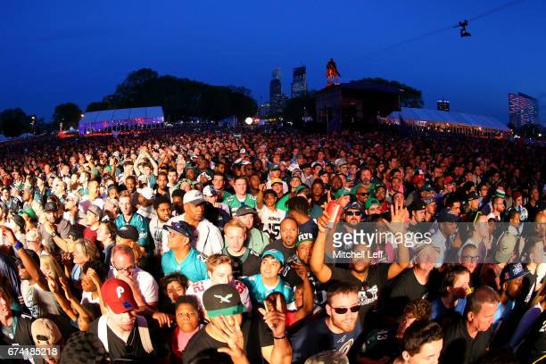 Fans cheer from the viewing party during the first round of the 2017 NFL Draft at the Philadelphia Museum of Art on April 27 2017 in Philadelphia...